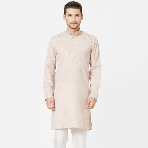 Amazing Beige Colored Festive Wear Cotton Kurta