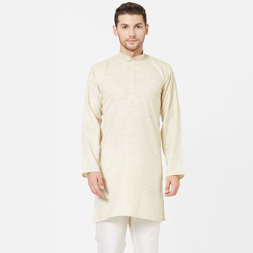 Attractive Cream Colored Festive Wear Cotton Kurta