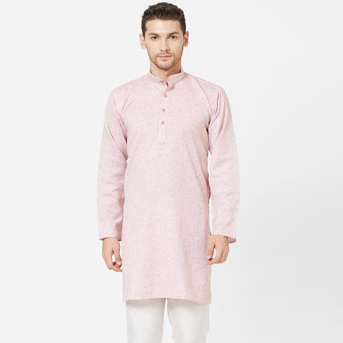 Beautiful Pink Colored Festive Wear Cotton Kurta