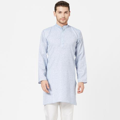 Blissful Blue Colored Festive Wear Cotton Kurta