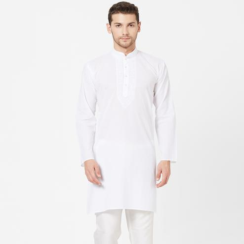 Charming White Colored Festive Wear Cotton Kurta