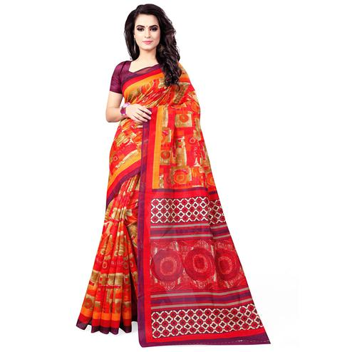 Arresting Orange Colored Casual Wear Printed Bhagalpuri Silk Saree