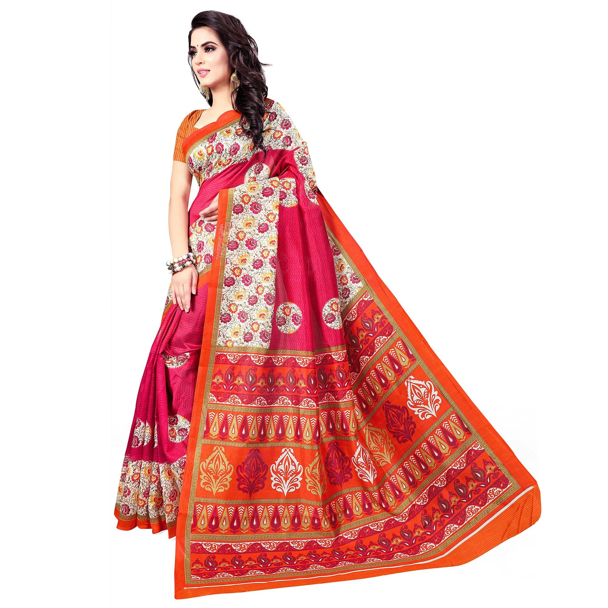 Desirable Pink Colored Casual Wear Printed Bhagalpuri Silk Saree