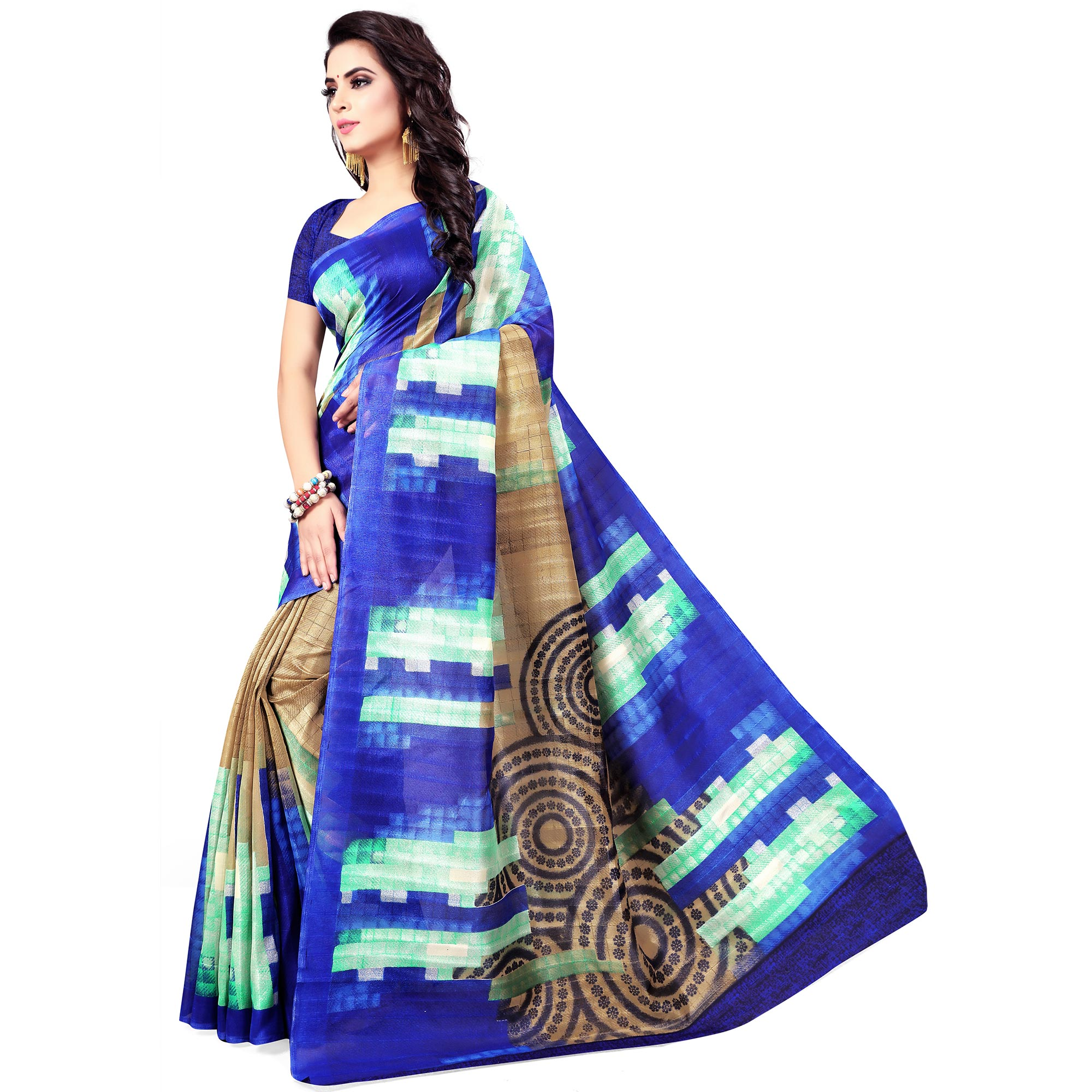 Sophisticated Blue Colored Casual Wear Printed Bhagalpuri Silk Saree
