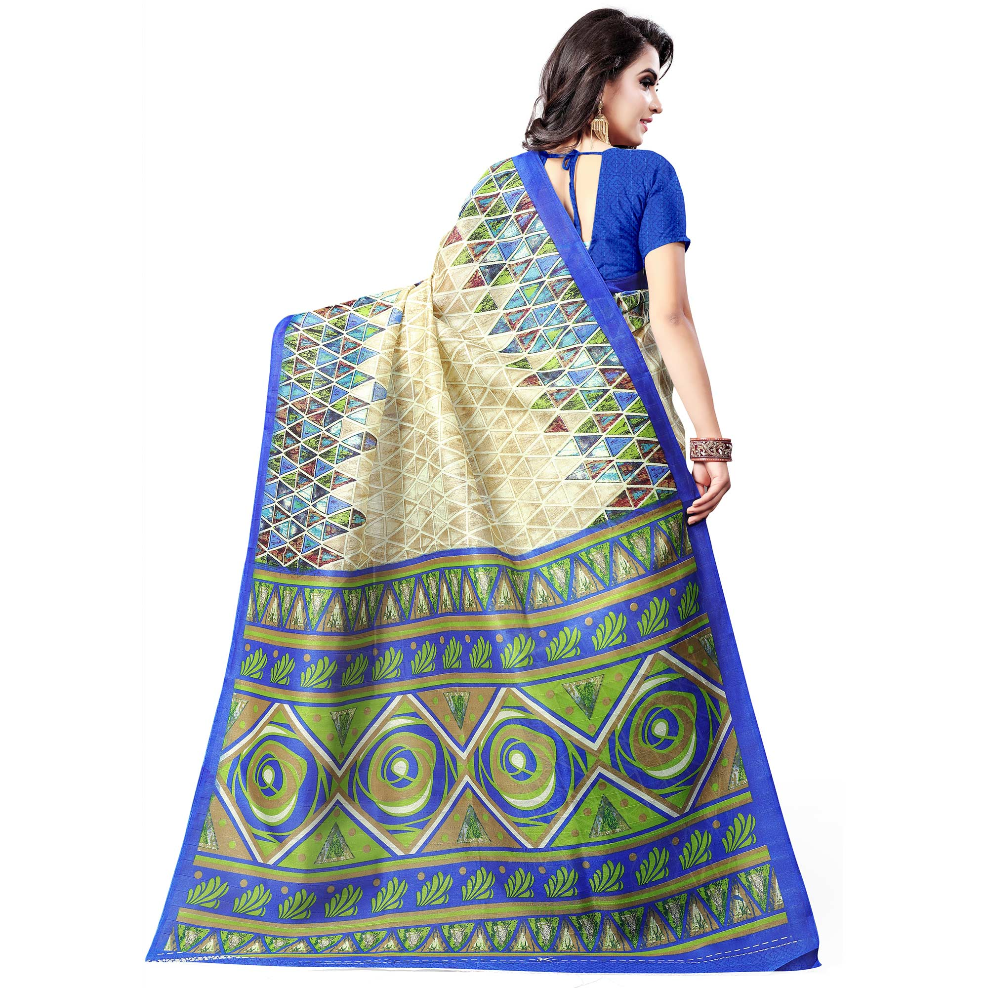 Trendy Beige-Blue Colored Casual Wear Printed Bhagalpuri Silk Saree
