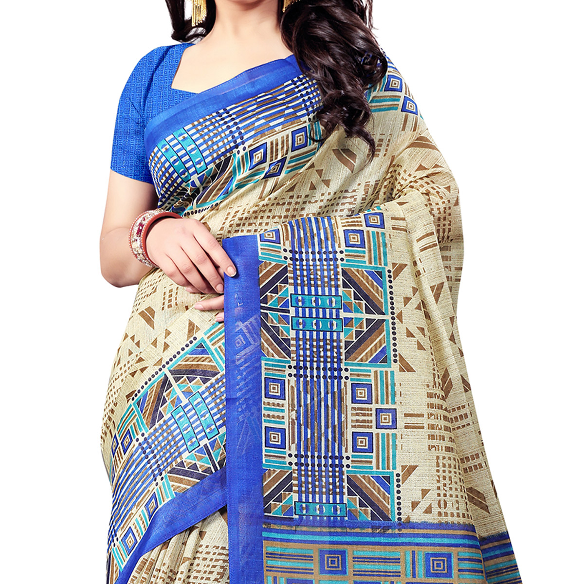 Flattering Beige-Blue Colored Casual Wear Printed Bhagalpuri Silk Saree
