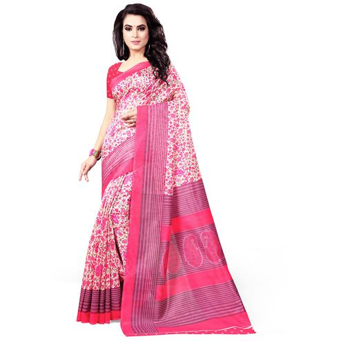 Radiant Pink Colored Casual Wear Printed Bhagalpuri Silk Saree