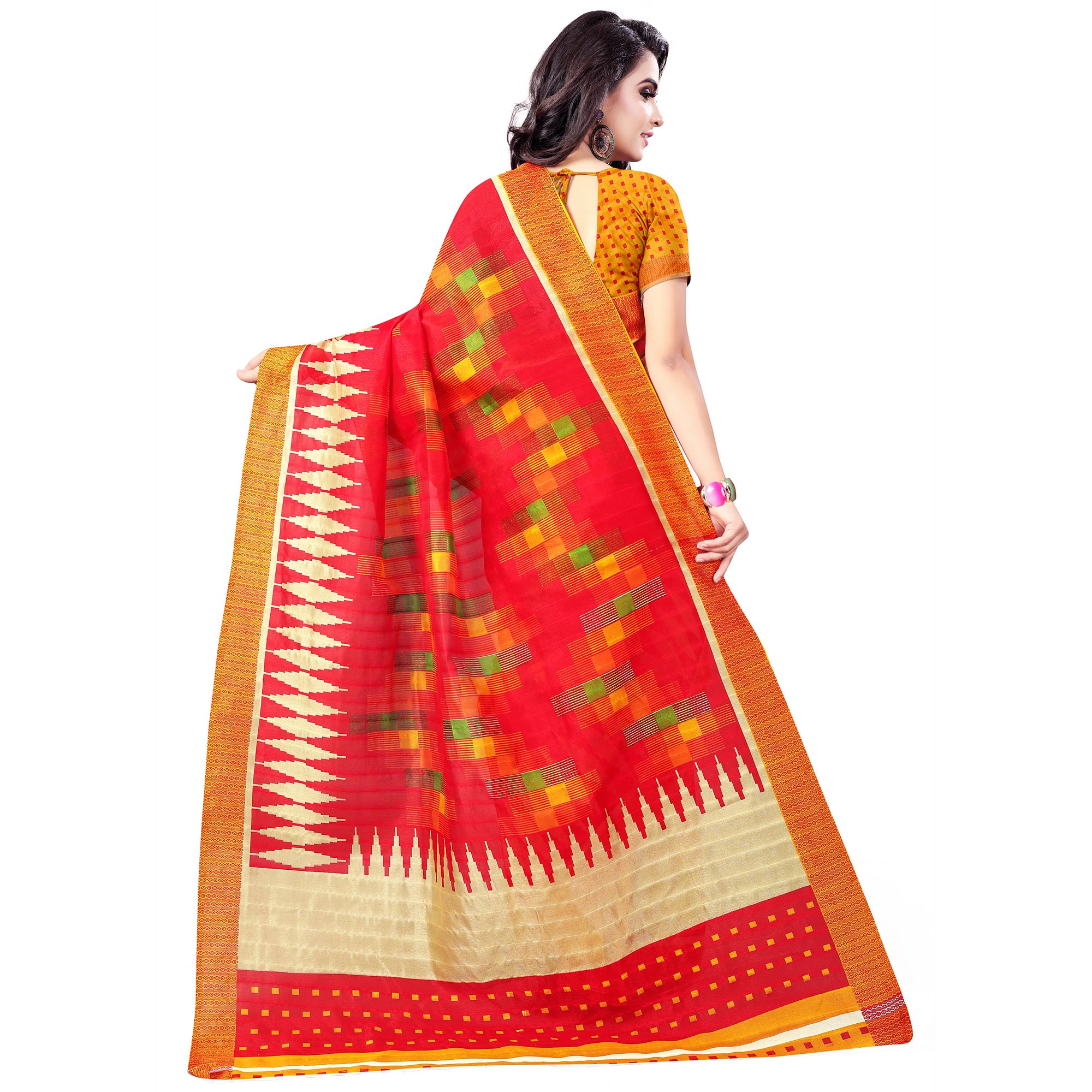 Pleasant Red Colored Casual Wear Printed Bhagalpuri Silk Saree