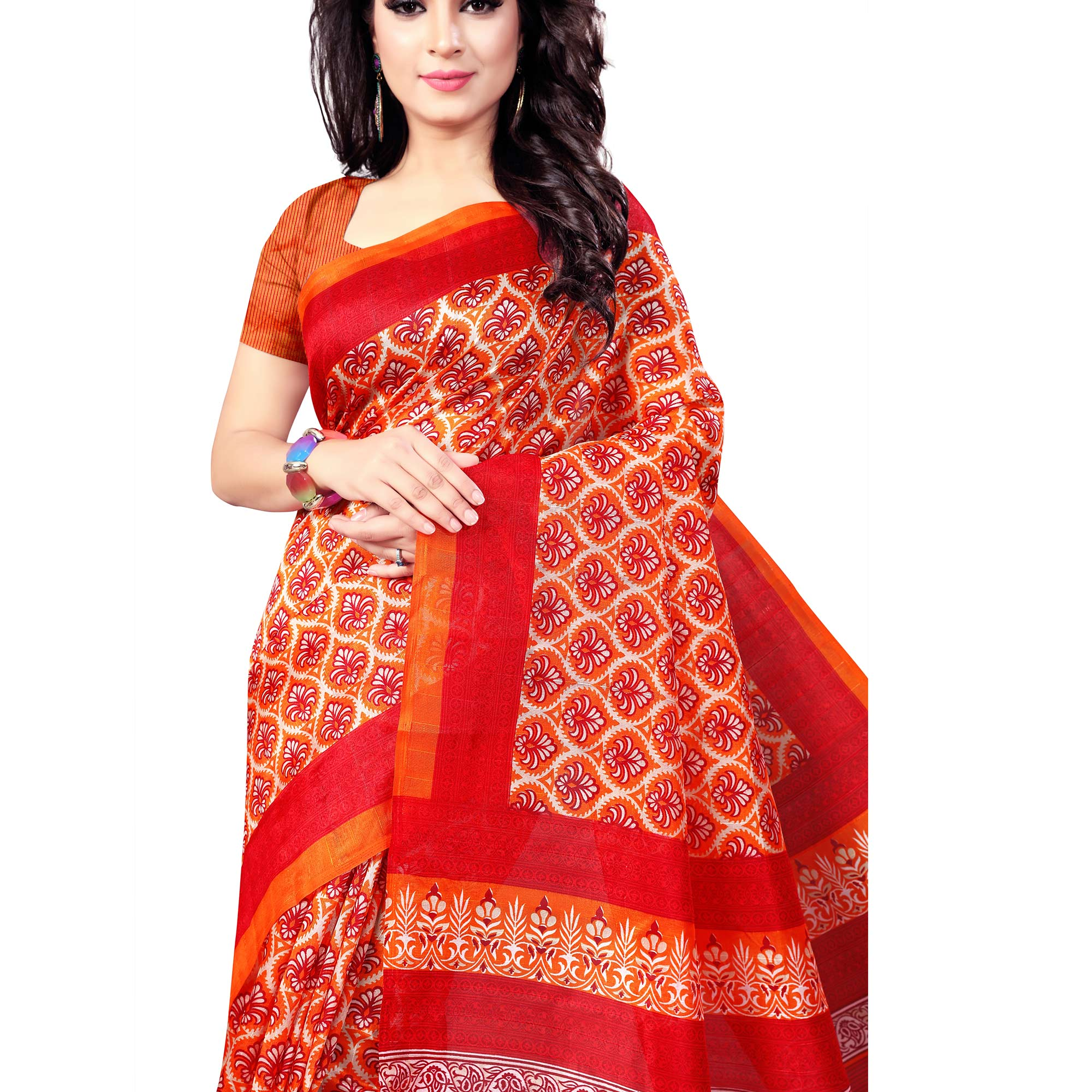 Opulent Red Colored Casual Wear Printed Bhagalpuri Silk Saree
