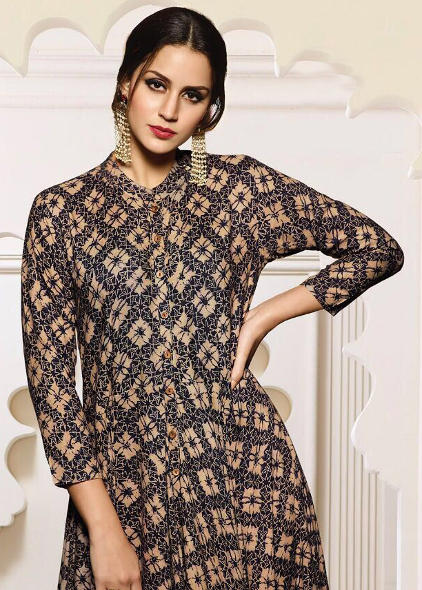 Black-Cream Designer Partywear Digital Printed Heavy Rayon Kurti