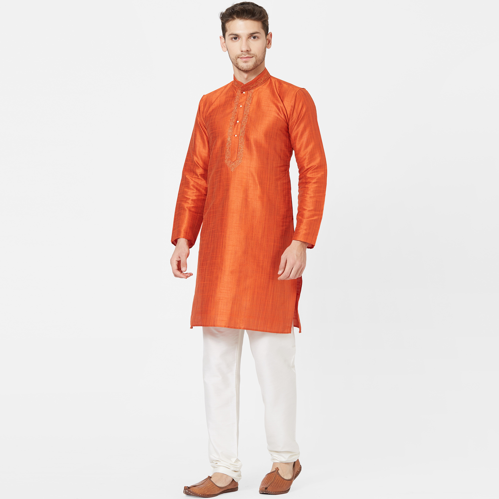 Unique Orange Colored Festive Wear Cotton Kurta