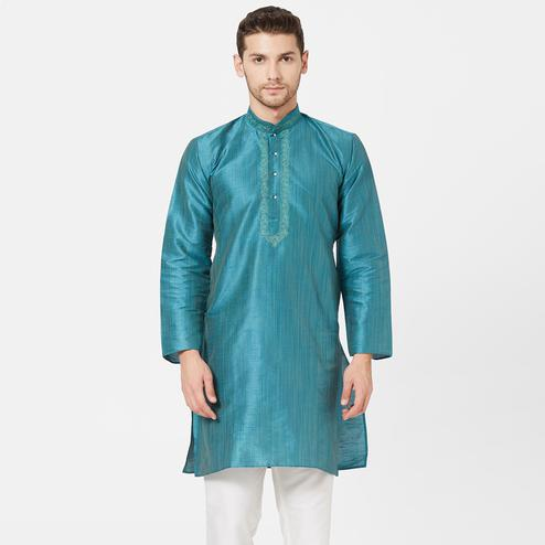 Magnetic Rama Blue Colored Festive Wear Cotton Kurta