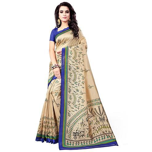 Energetic Cream-Blue Colored Casual Wear Printed Bhagalpuri Silk Saree