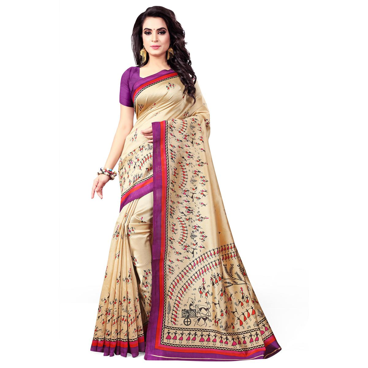 Glowing Cream-Purple Colored Casual Wear Printed Bhagalpuri Silk Saree