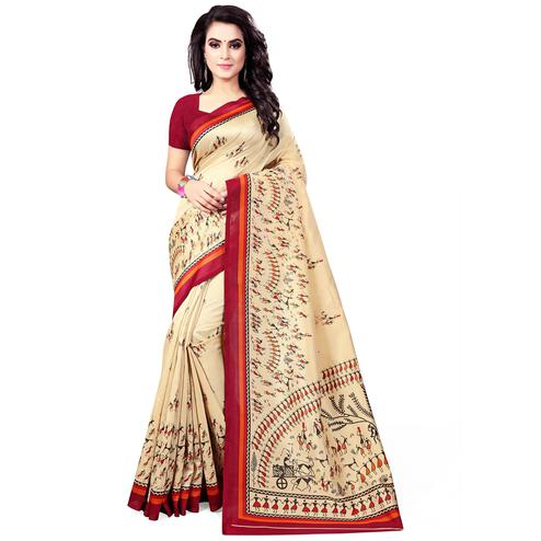 Exceptional Cream - Maroon Colored Casual Wear Printed Bhagalpuri Silk Saree