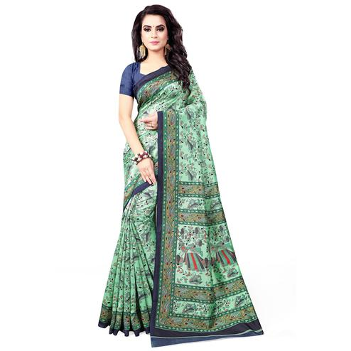 Mesmeric Pastel Green Colored Casual Wear Printed Bhagalpuri Silk Saree