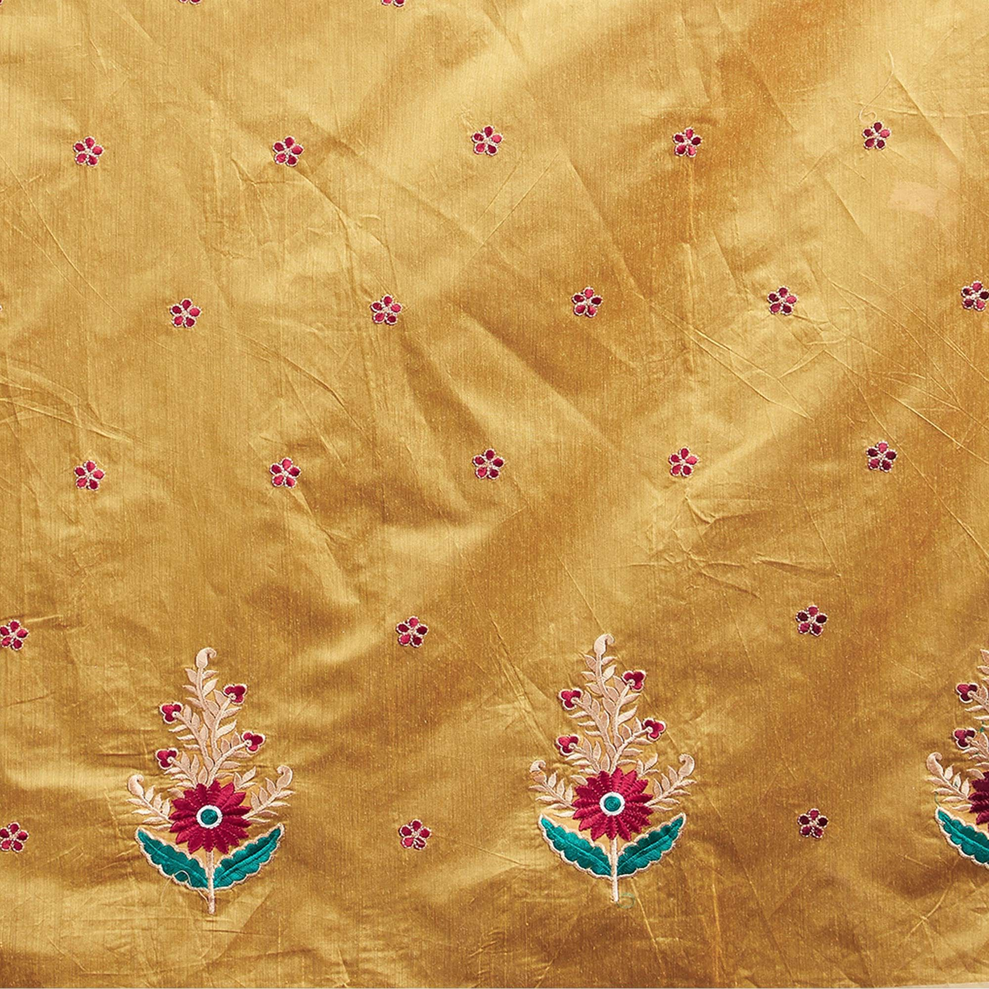 Ravishing Yellow Designer Embroidered Chanderi Saree