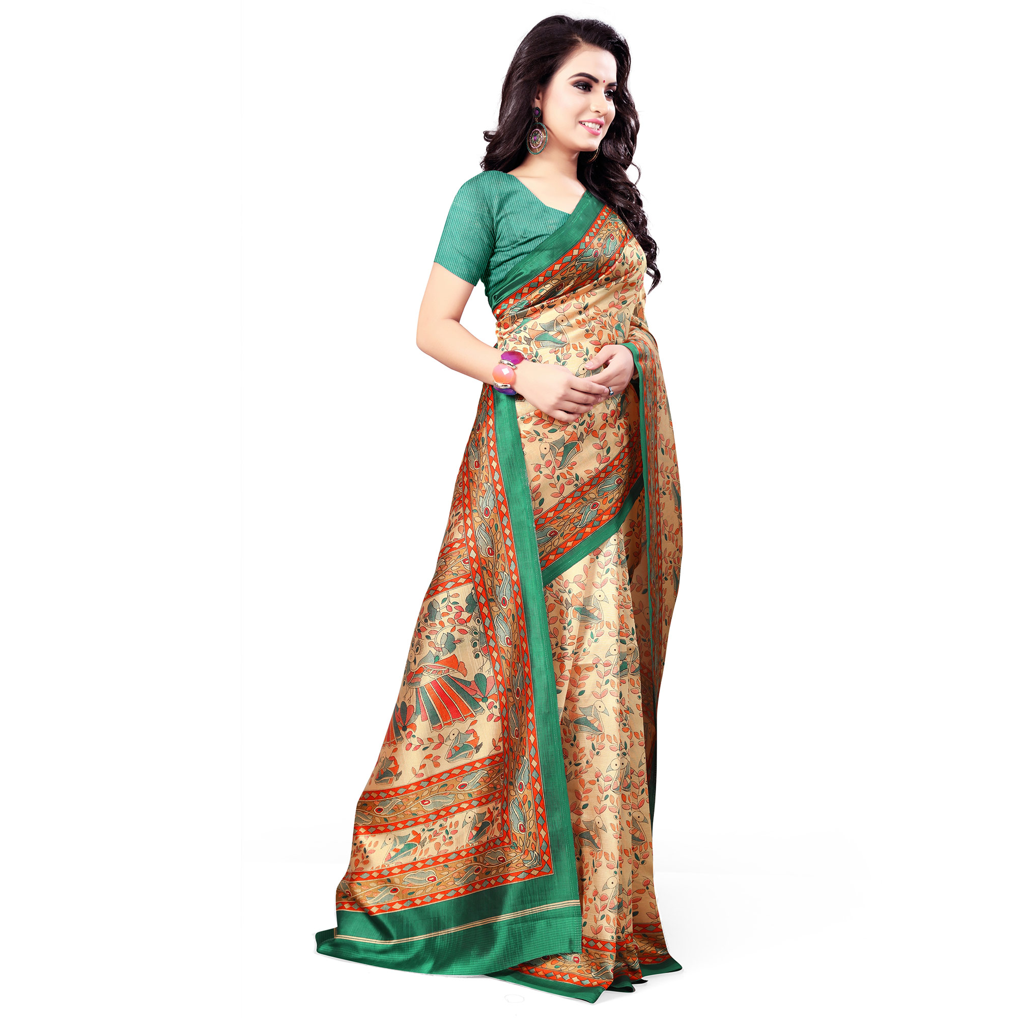 Unique Beige Colored Casual Wear Printed Bhagalpuri Silk Saree