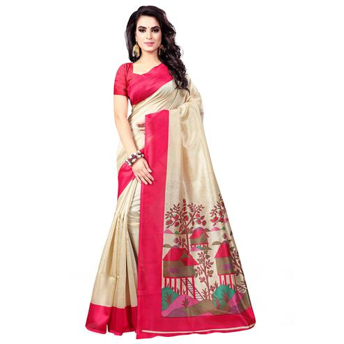 Refreshing Beige-Pink Colored Casual Wear Printed Bhagalpuri Silk Saree