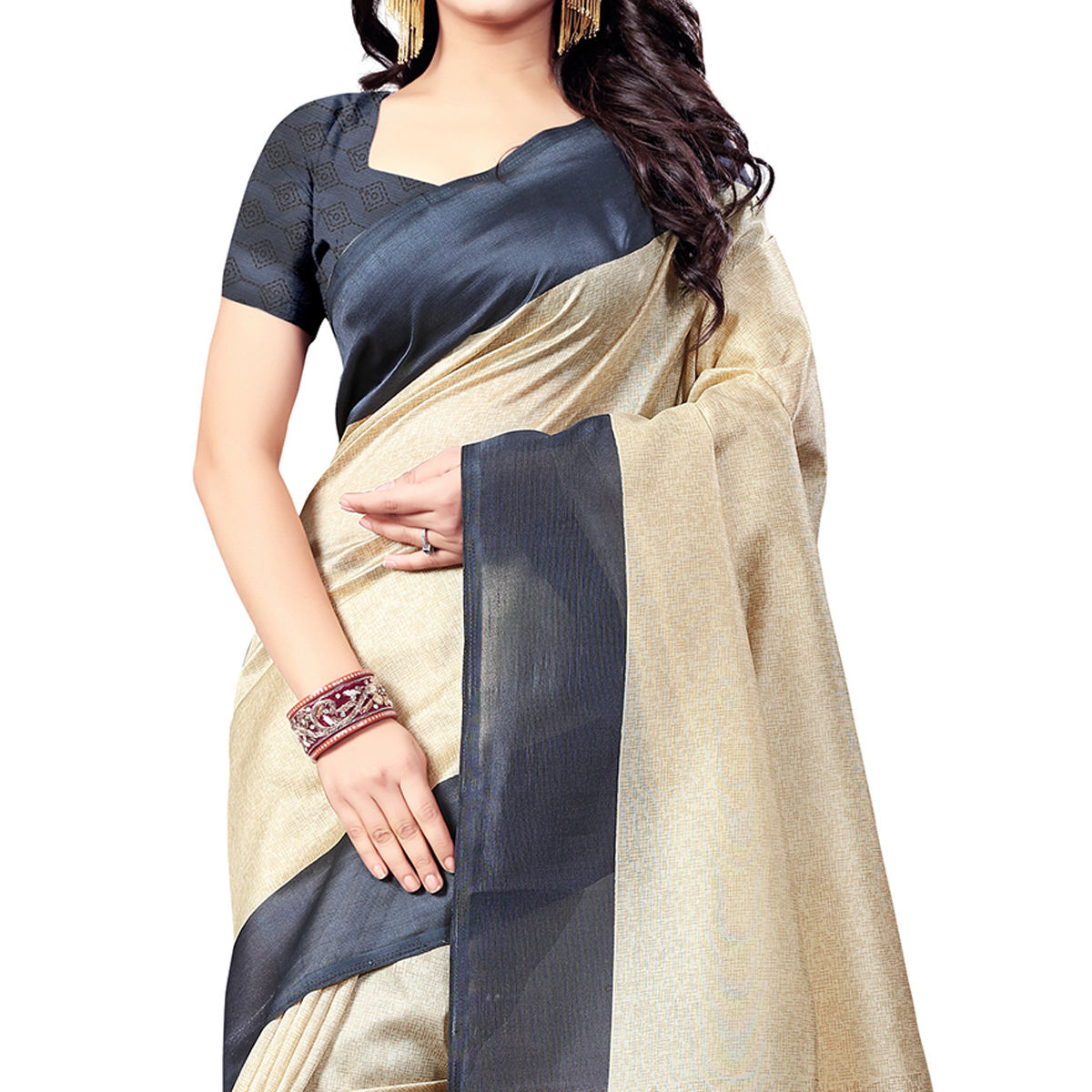 Magnetic Beige-Gray Colored Casual Wear Printed Bhagalpuri Silk Saree