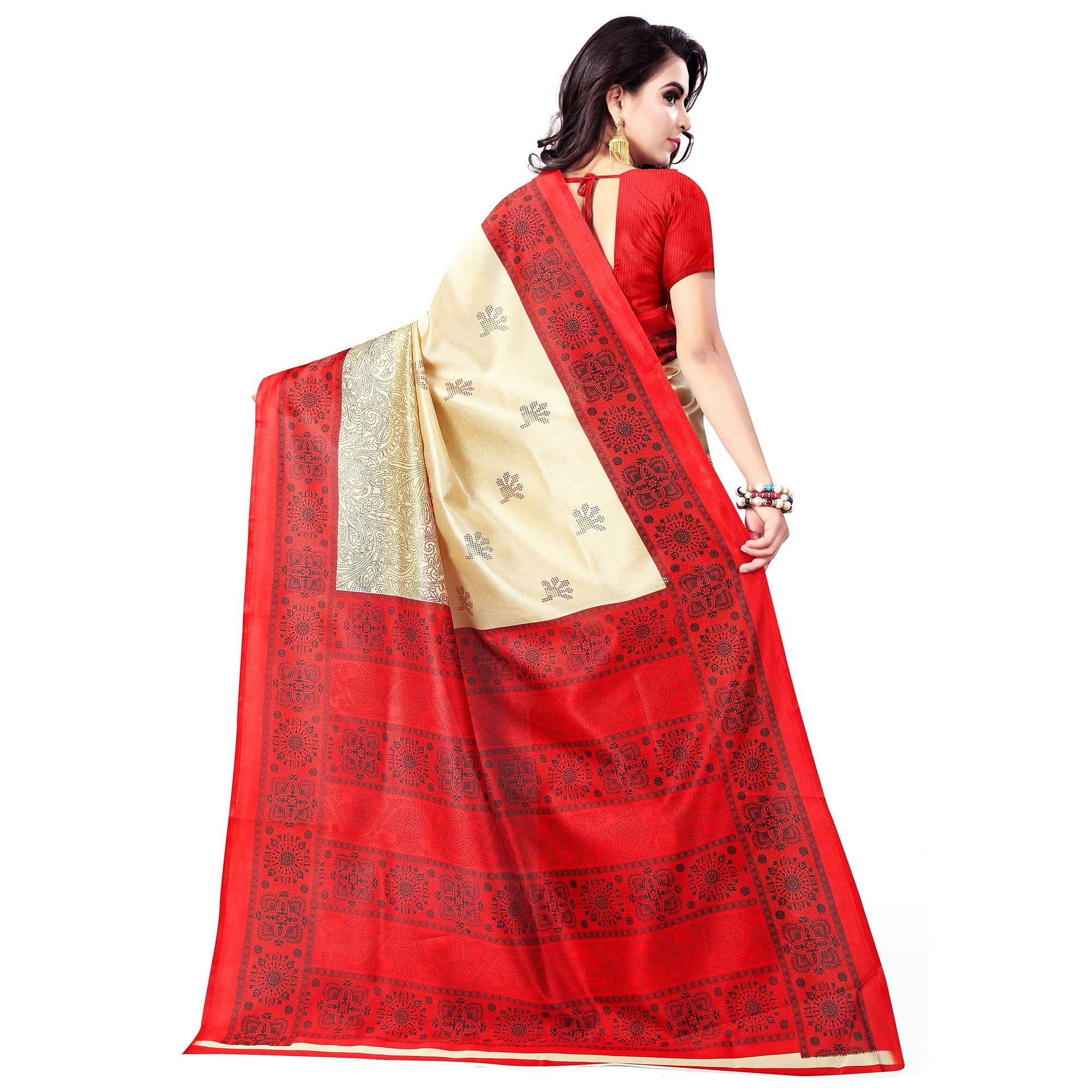 Elegant Beige-Red Colored Casual Wear Printed Bhagalpuri Silk Saree