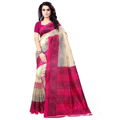 Breathtaking Beige- Pink Colored Casual Wear Printed Bhagalpuri Silk Saree