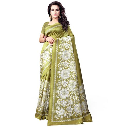 Ethnic Olive Green Colored Casual Wear Printed Bhagalpuri Silk Saree