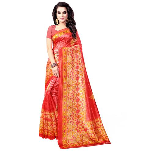 Alluring Coral Red Colored Casual Wear Printed Bhagalpuri Silk Saree