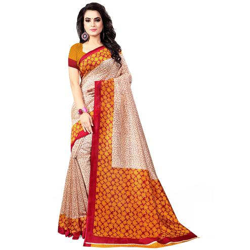 Sensational Beige - Yellow Colored Casual Wear Printed Bhagalpuri Silk Saree