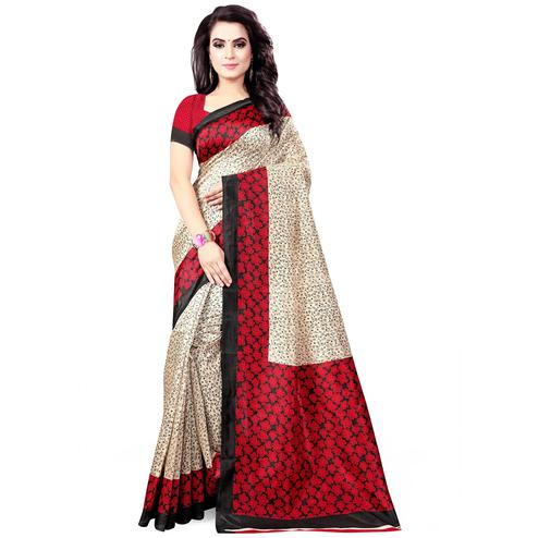 Flaunt Beige - Red Colored Casual Wear Printed Bhagalpuri Silk Saree