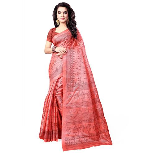 Flirty Peach Colored Casual Wear Printed Art Silk Saree
