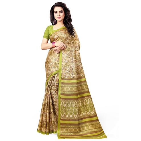 Appealing Beige - Green Colored Casual Wear Printed Art Silk Saree