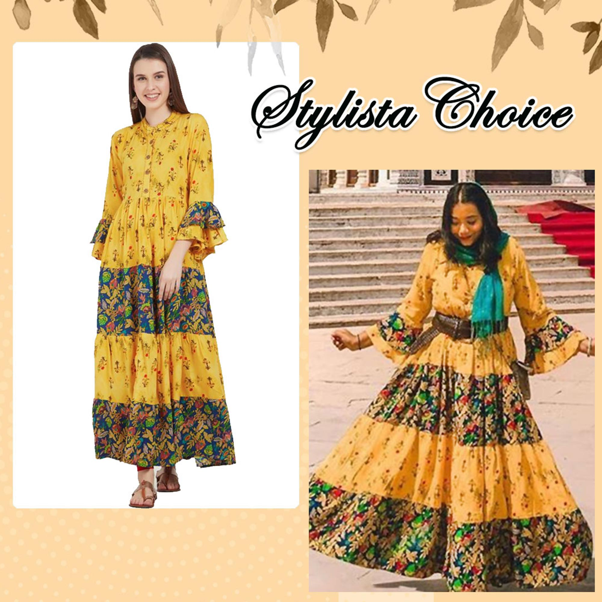Intricate Yellow Colored Partywear Printed Rayon Kurti