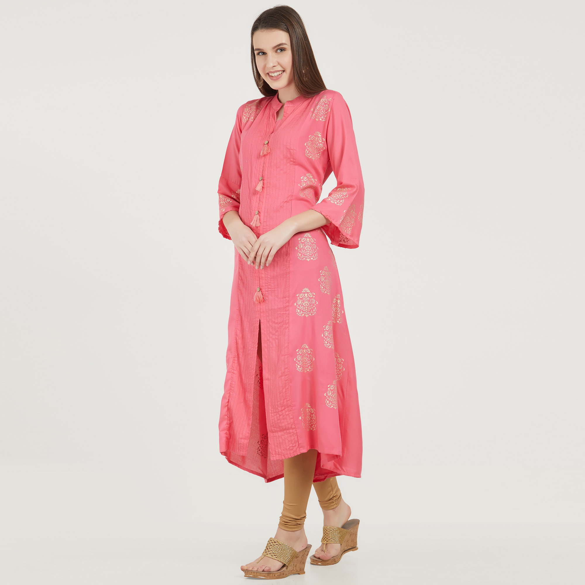 Arresting Pink Colored Partywear Printed Cotton Kurti