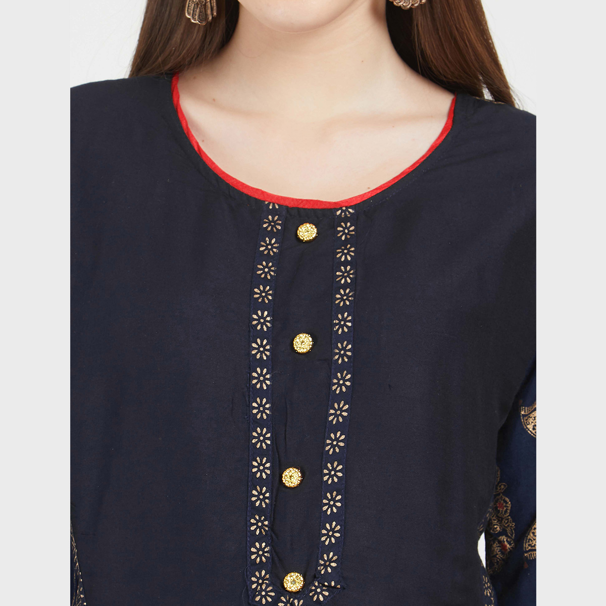 Desirable Navy Blue Colored Partywear Printed Cotton Kurti