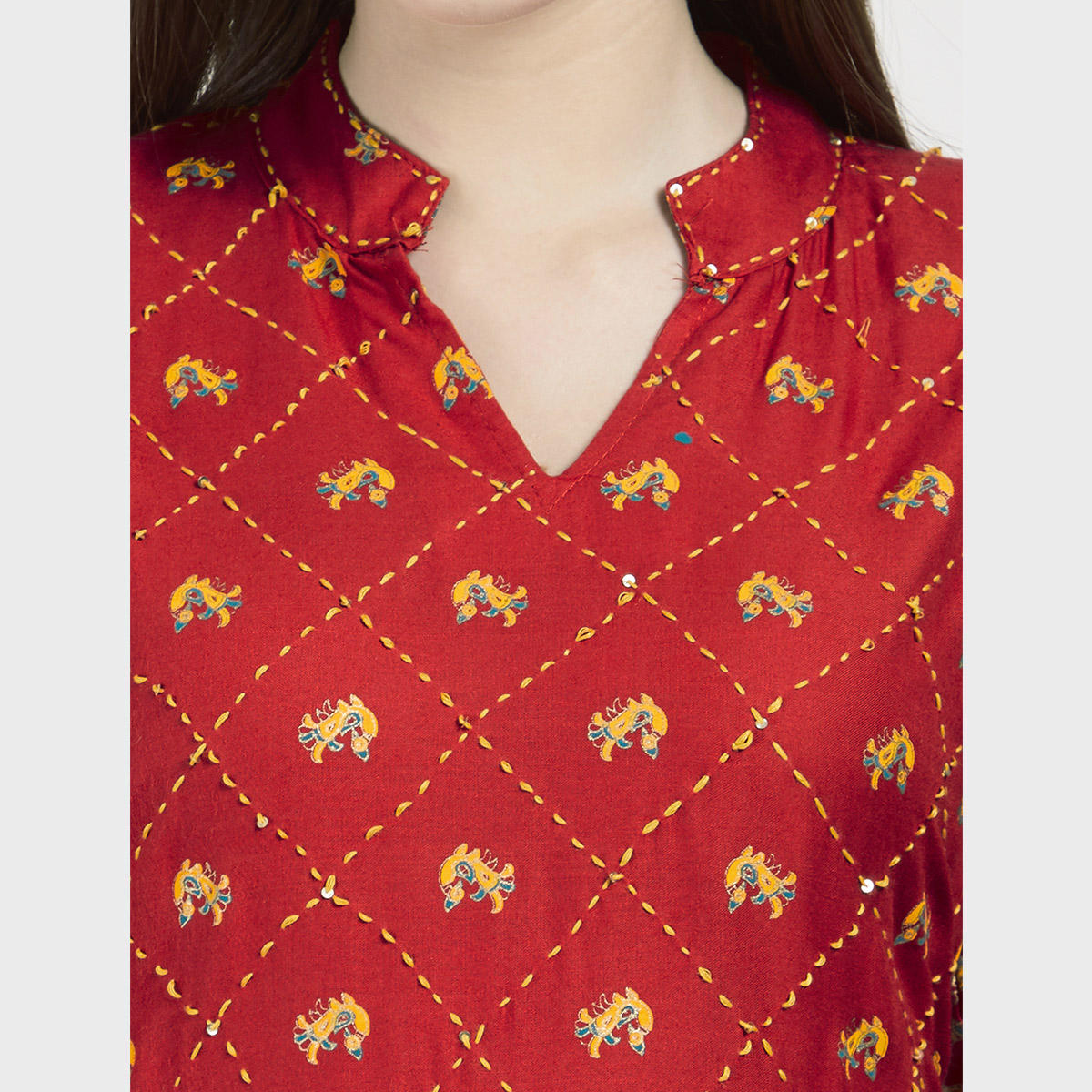 Sophisticated Red Colored Partywear Printed Cotton long Kurti