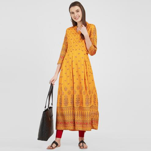Trendy Yellow Colored Partywear Printed Cotton long Kurti