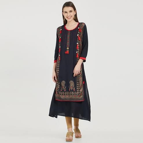 Flattering Navy Blue Colored Partywear Printed Cotton Kurti