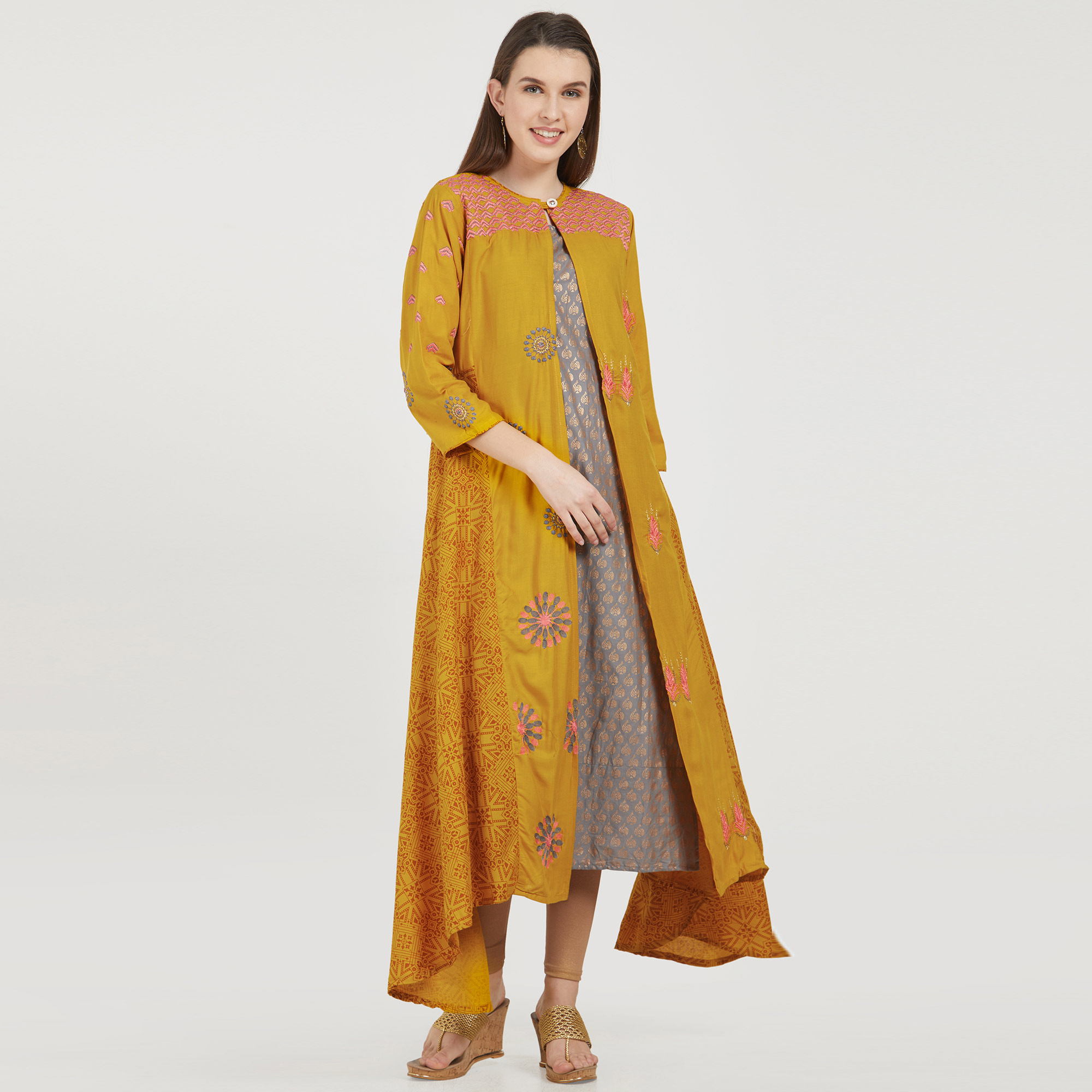 Pleasant Mustard Yellow-Gray Colored Partywear Printed Jacket Style Rayon-Cotton Kurti