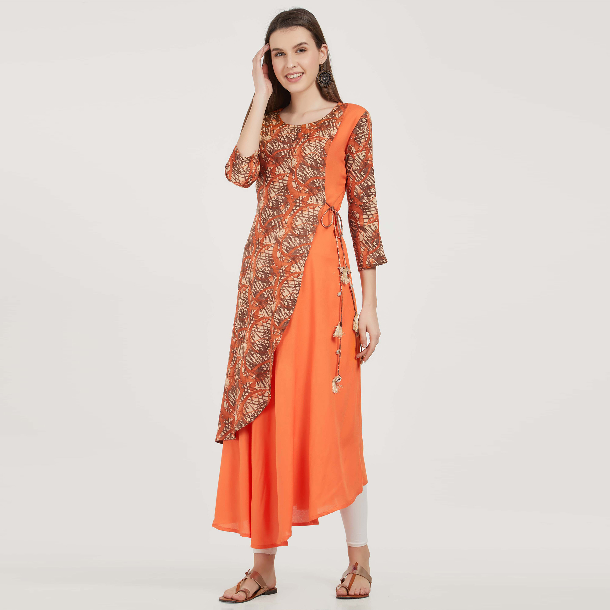 Opulent Orange Colored Partywear Printed Rayon Kurti
