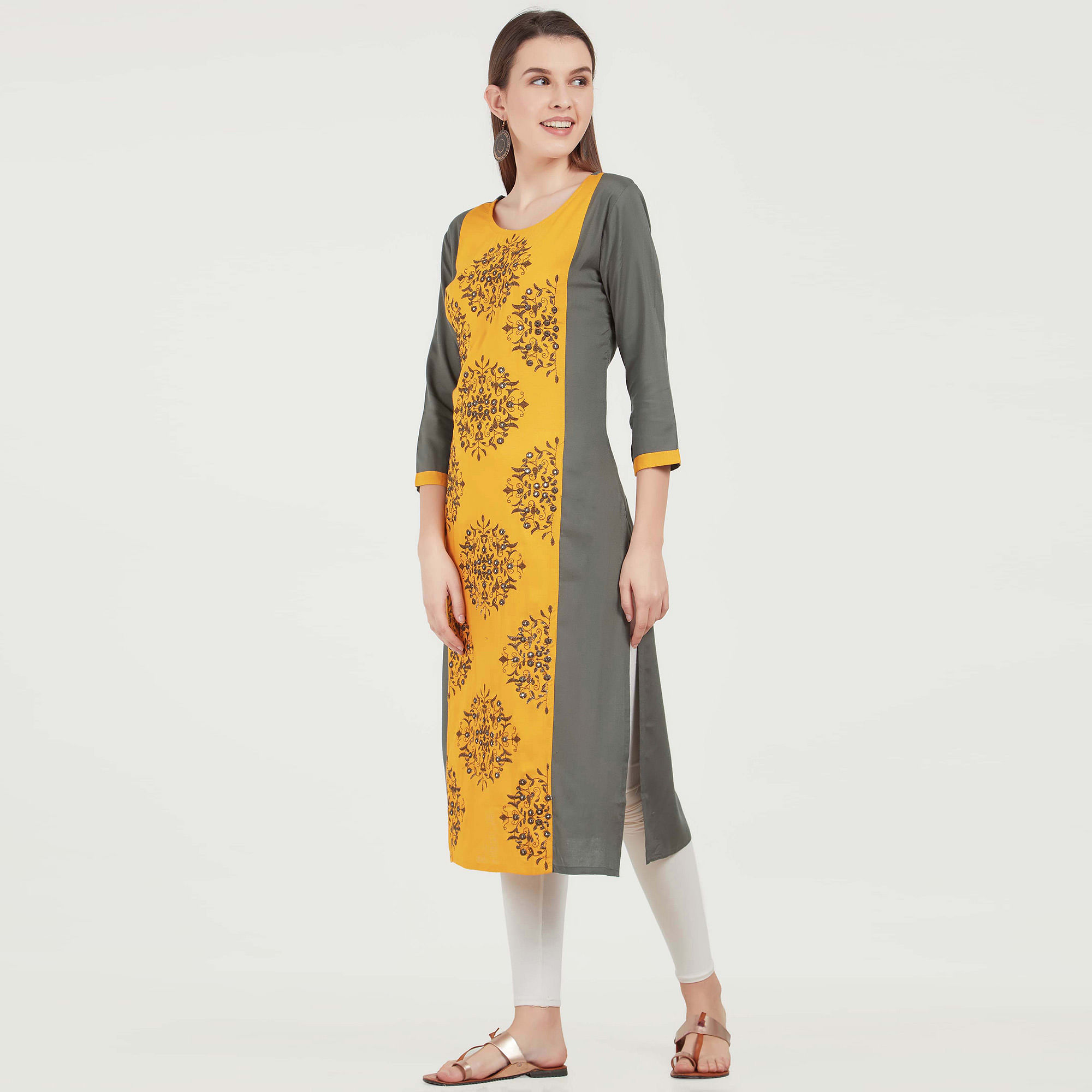 Energetic Yellow-Gray Colored Partywear Embroidered Rayon Kurti