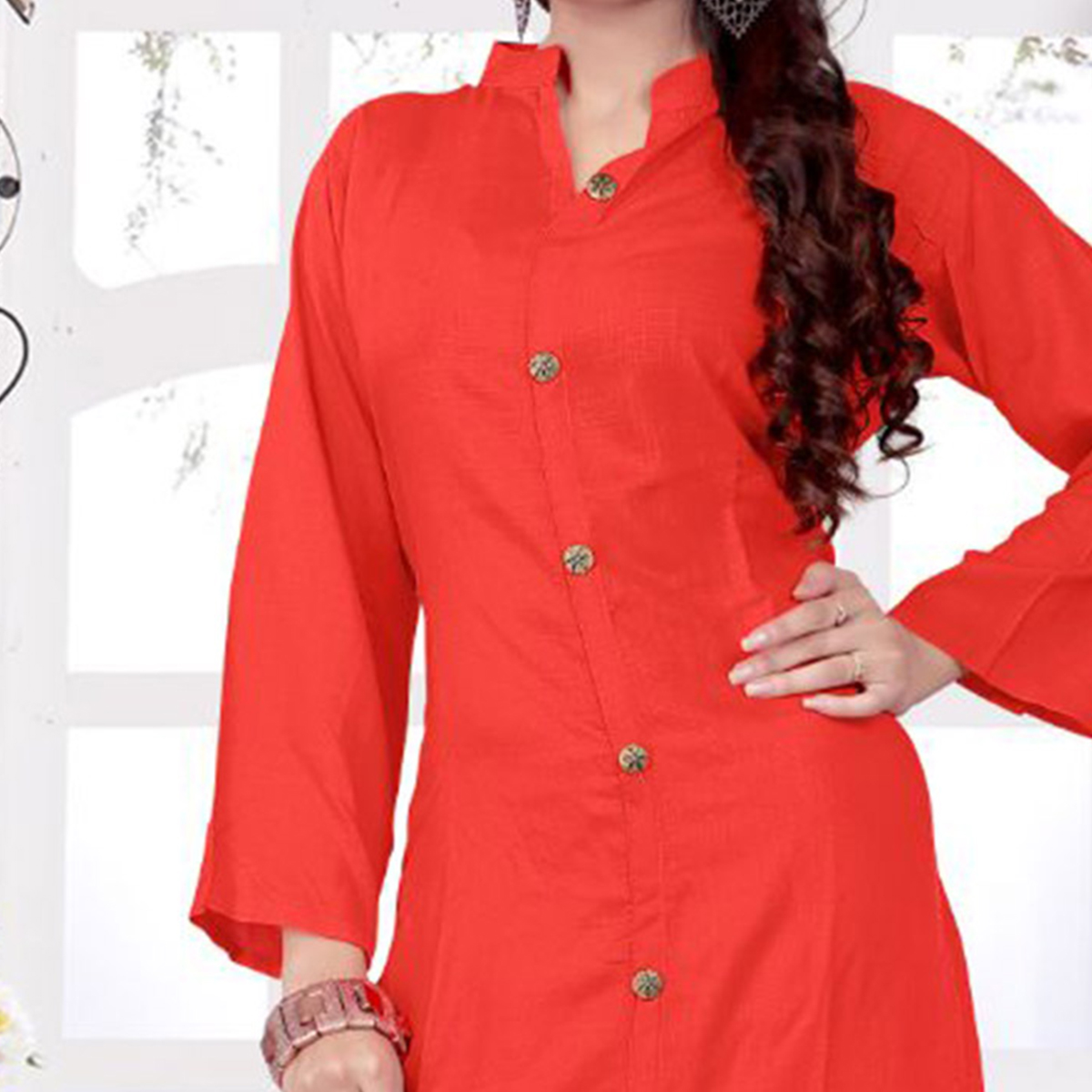 Gorgeous Orange Casual Wear Rayon - Slub Kurti