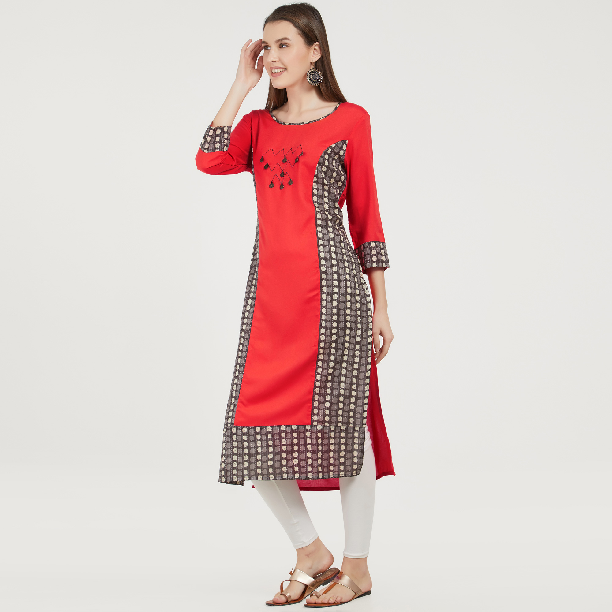 Exceptional Red Colored Casual Printed Rayon Kurti