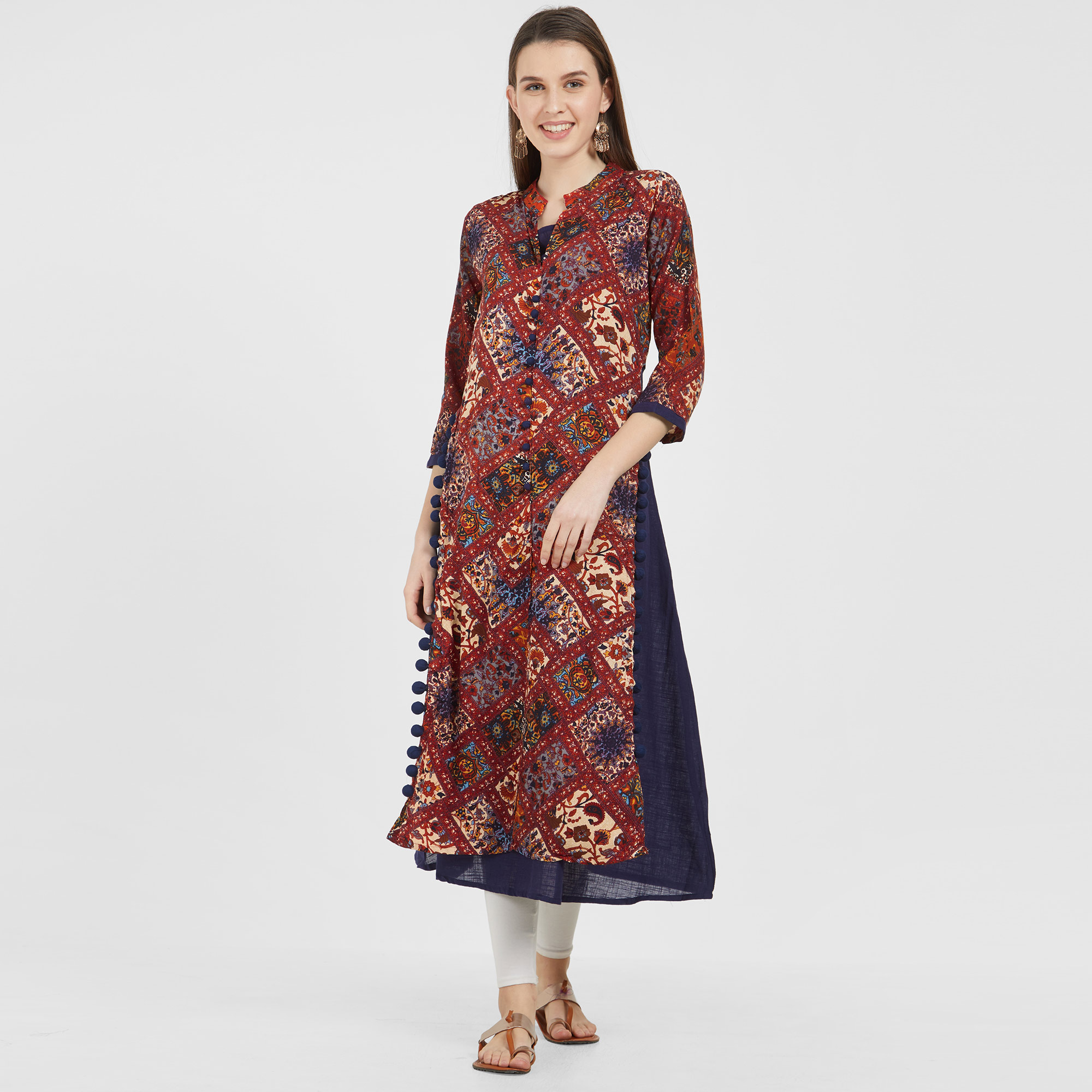 Mesmeric Navy Blue-Maroon Colored Casual Wear Printed Cotton-Rayon Kurti