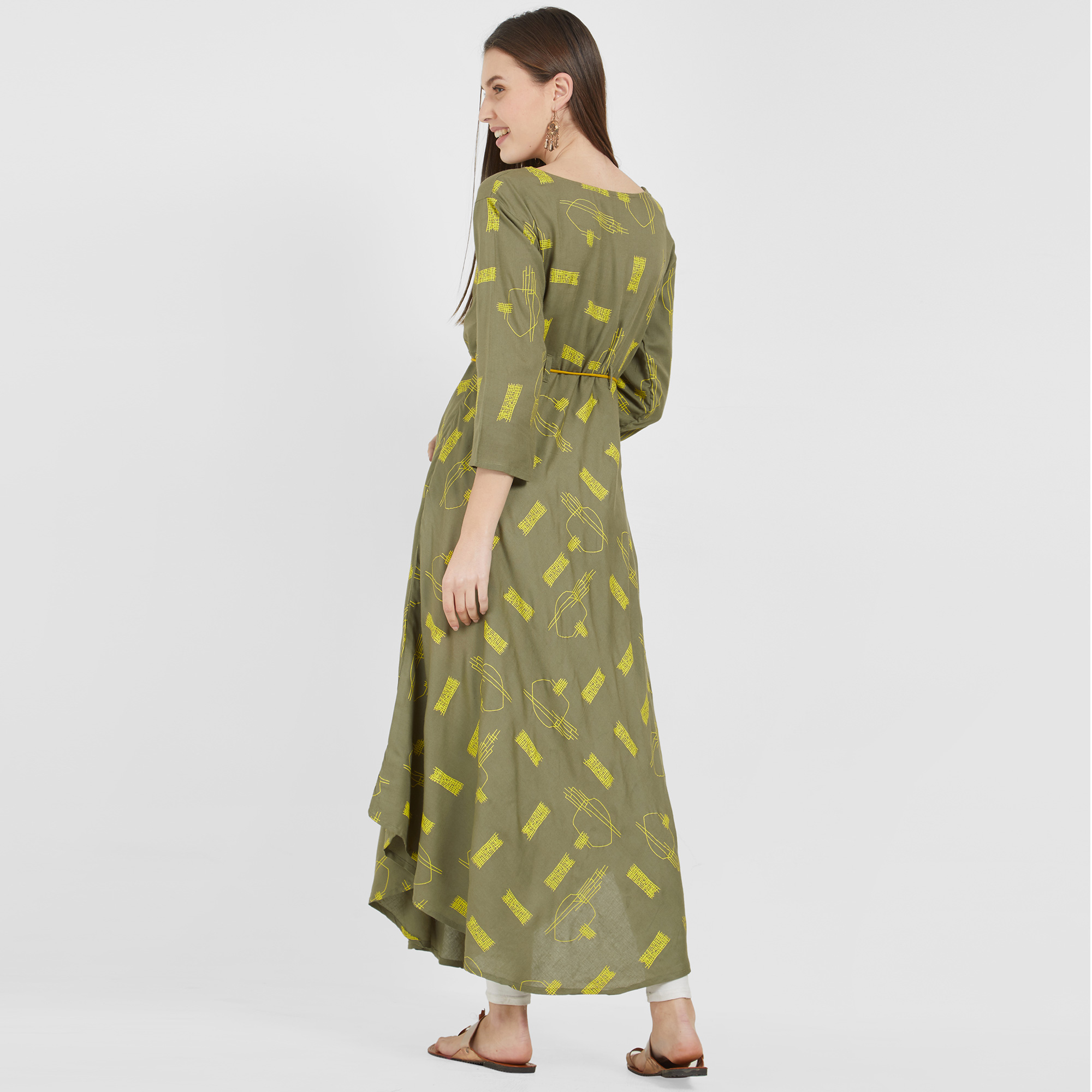 Unique Olive Green Colored Casual Wear Printed cotton Kurti
