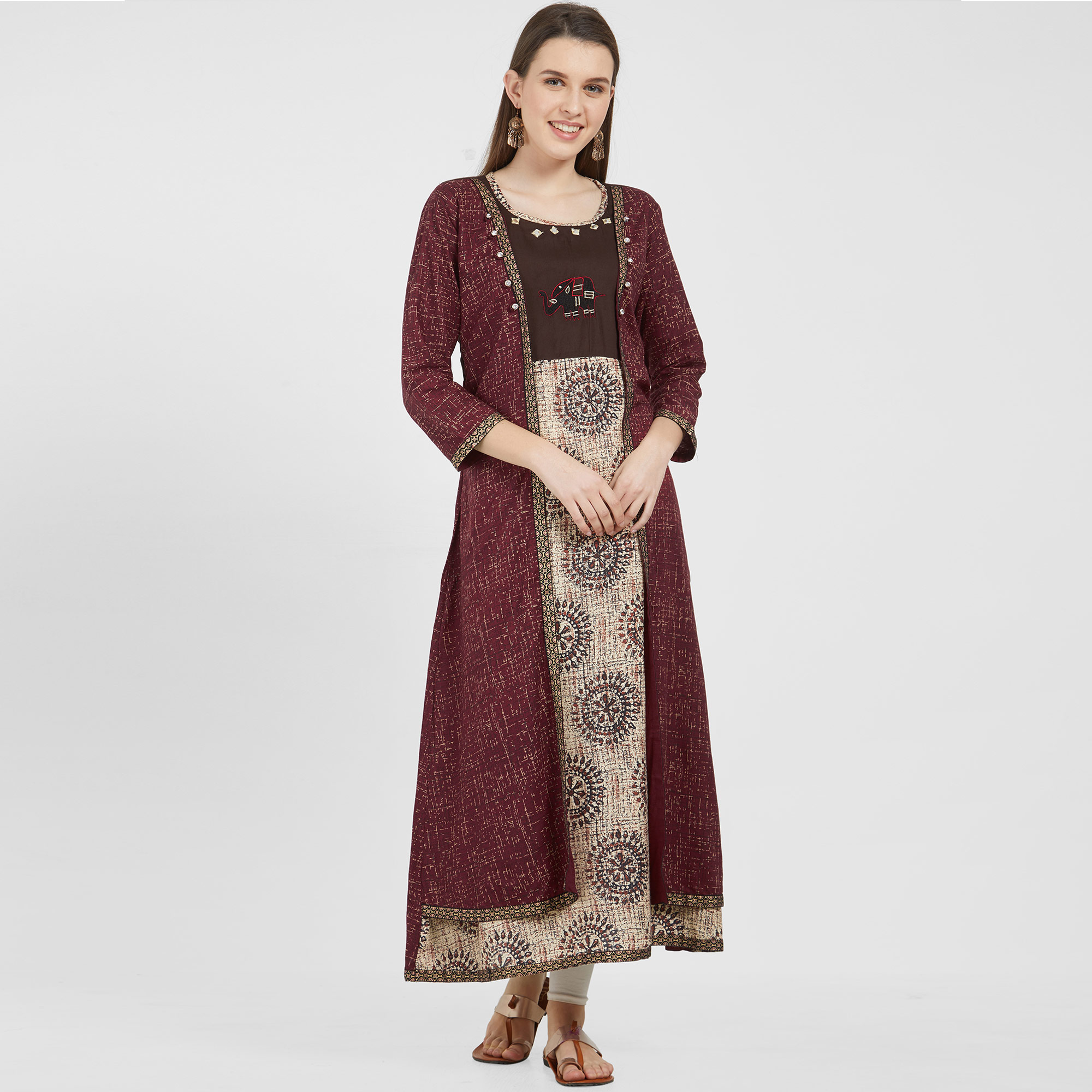 Refreshing Beige-Maroon Colored Partywear Printed Cotton Kurti