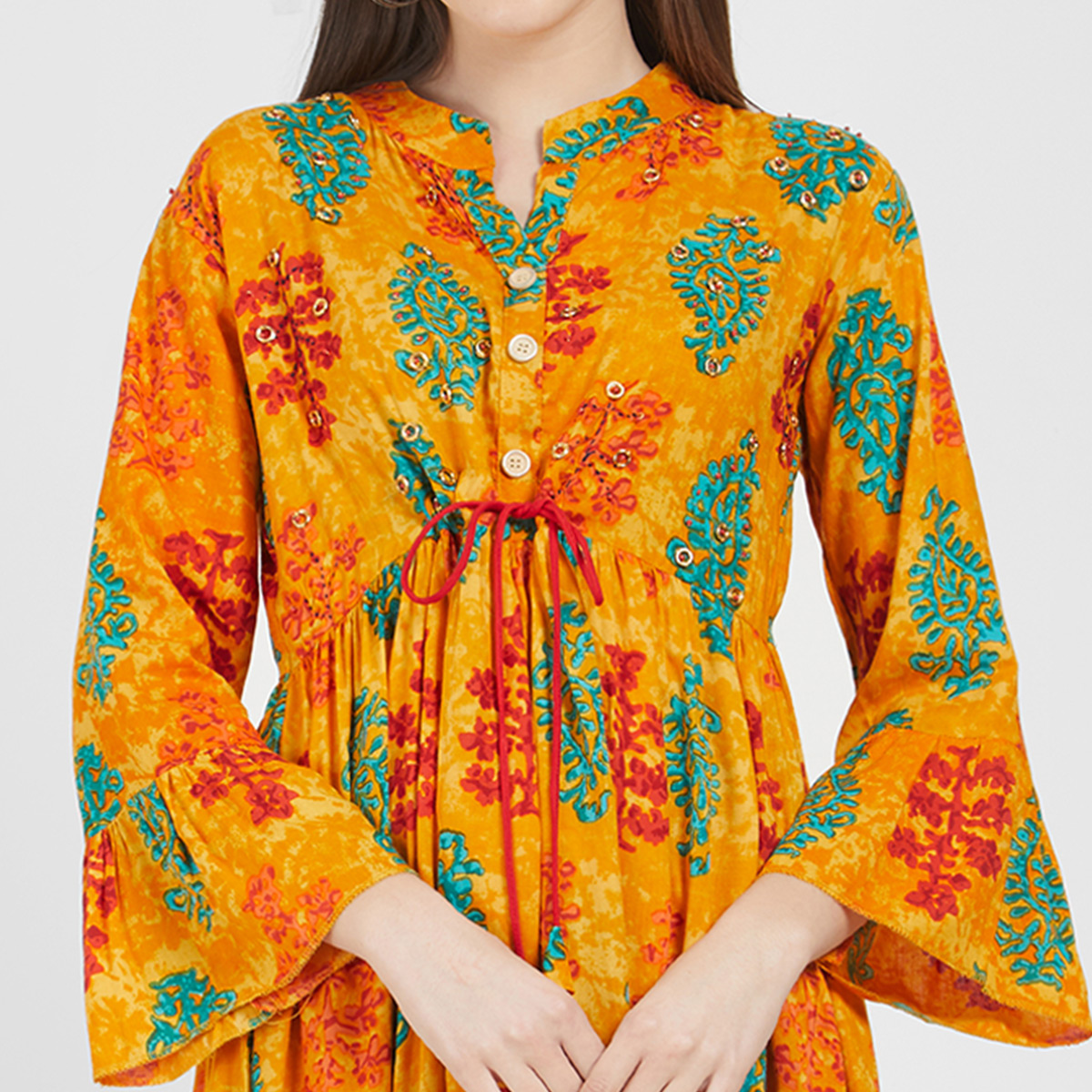 Magnetic Orange Colored Party Wear Printed Cotton Kurti