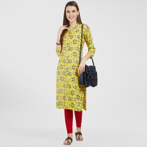 Hypnotic Lemon Yellow Colored Casual Wear Printed Rayon Kurti