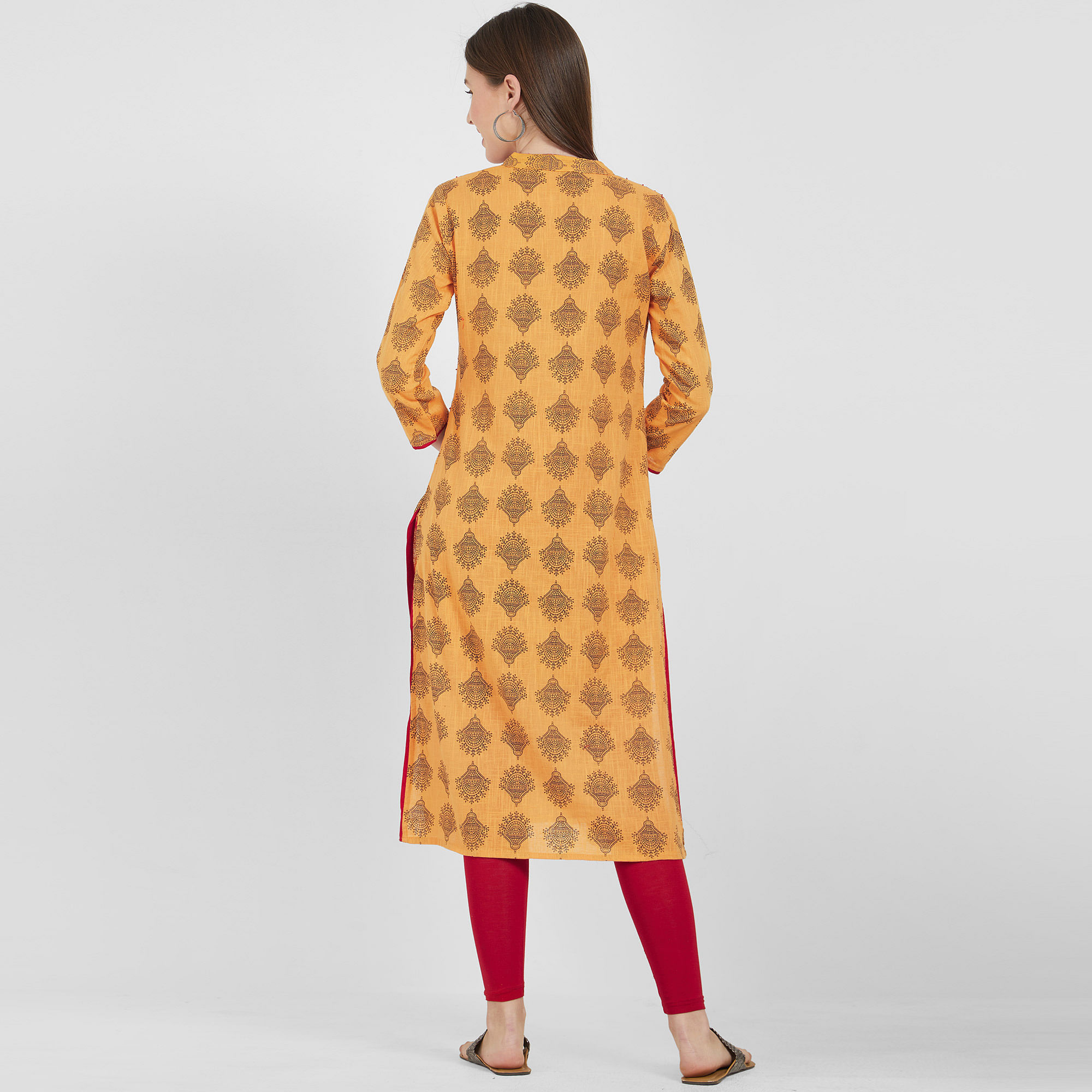Elegant Mustard Yellow Colored Casual Wear Printed Cotton Kurti