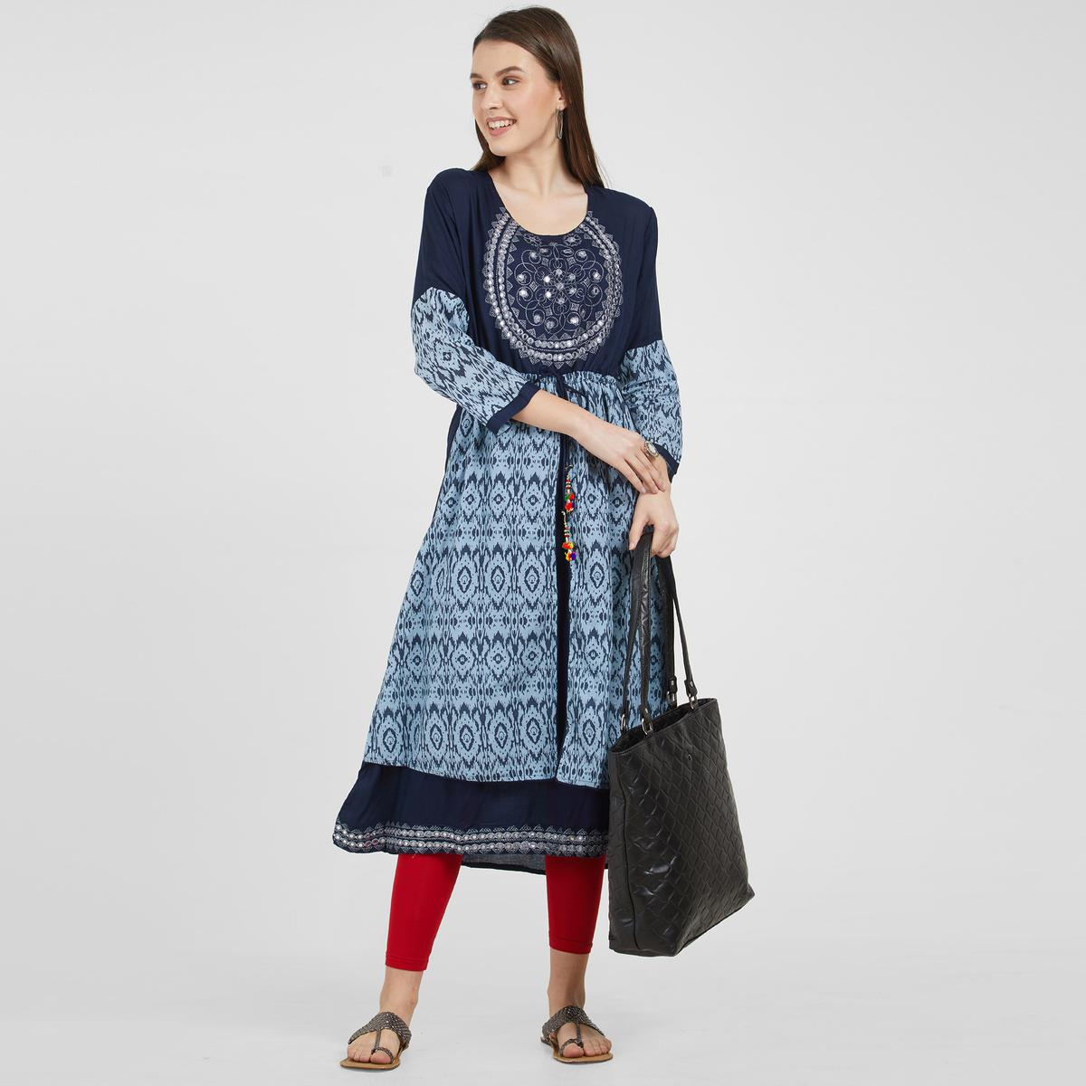Excellent Blue Colored Partywear Embroidered Cotton Kurti